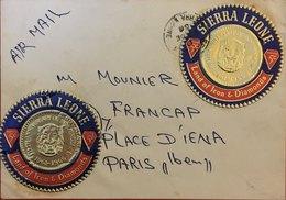 SIERRA LEONE Lettre Par Avion Pour La France. Timbre Du 5eme Anniversaire De L'indépendance De 1966 (pièce De Monnaie). - Stamps