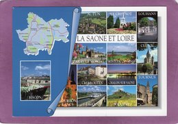 71 LA SAONE ET LOIRE Carte Géographique Multivues Du Département - France