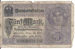 ALLEMAGNE 5 MARK 1917 VG P 56 - [ 2] 1871-1918 : Empire Allemand