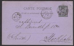 PARIS:Carte Entier 10 C Sage Repiquage GONTHIER-DREYFUS Fils & C° Oblt PARIS R. DE STRASBOURG P STOKHOLM - Entiers Postaux