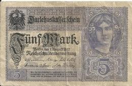 ALLEMAGNE 5 MARK 1917 VF P 56 - [ 2] 1871-1918 : Empire Allemand