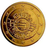 ESTONIE 2012 - 2 EUROS COMMEMORATIVE - 10 ANS DE L'EURO - FACE COMMUNE - PLAQUE OR - Estonie