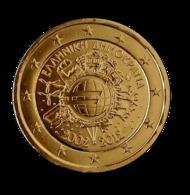 GRECE 2012 - 2 EUROS COMMEMORATIVE - 10 ANS DE L'EURO - FACE COMMUNE - PLAQUE OR - Grèce