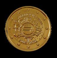 ITALIE 2012 - 2 EUROS COMMEMORATIVE - 10 ANS DE L'EURO - FACE COMMUNE - PLAQUE OR - Italie