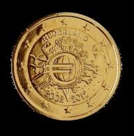 PAYS BAS 2012 - 2 EUROS COMMEMORATIVE - 10 ANS DE L'EURO - FACE COMMUNE - PLAQUE OR - Pays-Bas