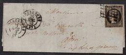 STRASBOURG - ALSACE / 30-12-1849 - CERES 20 C. NOIR SUR LAC POUR AGEN / COTE 220.00 EUROS (ref 1483) - 1849-1850 Ceres