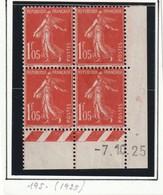 France Coin Daté Du Numéro 195 Du 7 10 1925 Sans Gomme - Coins Datés