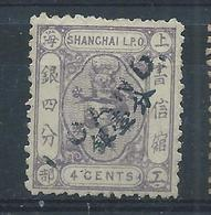 1873! SHANGHAI SMALL DRAGON Surch In Blue 1ca On 4cts H UNUSED CHAN LS58 #2 - Chine