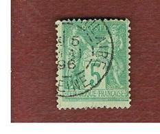 FRANCIA (FRANCE) - SG 282  -    1876  PEACE & COMMERCE            5 C  - USED - 1876-1878 Sage (Tipo I)
