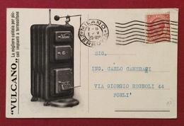 """CALDAIA """"VULCANO""""  FIERA ESPOSIZIONE DI MILANO 1928  CARTOLINA INVITO F.A.D'AMORE - Cartoline"""