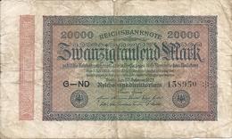 ALLEMAGNE 20000 MARK 1923 VG+ P 85 - [ 3] 1918-1933 : Weimar Republic