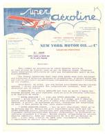 Facture / Papier à En-tête : Huile Super Aéroline, Salon De Provence, Avion, New-York Motor Oil Ans Co - Transports