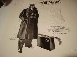 ANCIENNE PUBLICITE VETEMENT PARDESSUS MONTAGNAC 1932 - Habits & Linge D'époque