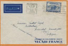 Australie Sidney 20.11.1934 Via DC2 Uiver Vers Liège - Par Avion Barré - Poste Aérienne