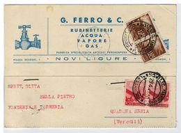Cartolina Commerciale Rubinetterie Acqua Vapore Gas G. Ferro - Novi Ligure - Alessandria