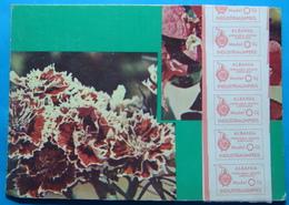 1986, Albania 5 Labels On Floral Postcard INDUSTRIALIMPEKS - GJIROKASTRA - Albania