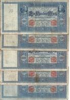 ALLEMAGNE 100 MARK 1910 VG+ P 42 ( 5 Billets ) - [ 2] 1871-1918 : German Empire