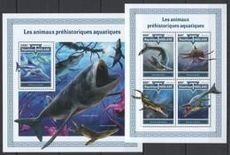UU746 2017 TOGO FAUNA DINOSAURS PREHISTORIC WATER ANIMALS AQUATIQUES KB+BL MNH - Prehistorics