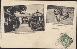 Carte Postale CP Entrance Of The Victoria Gardens Natives Washing Clothes YT 91 CAD Zanzibar 27 Fe 1939 - Zanzibar (...-1963)