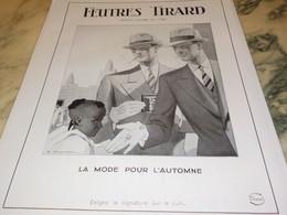 ANCIENNE PUBLICITE MODE L AUTOMNE CHAPEAU FEUTRES TIRARD 1931 - Habits & Linge D'époque