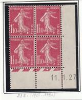 France Coin Daté Du Numéro 238 De 1927 2 Timbres ** Et 2 Chaniéres - Coins Datés
