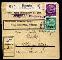 A5698) Elsass Paketkarte Bischweiler 6.3.41 N. Wangenburg MiF - Besetzungen 1938-45