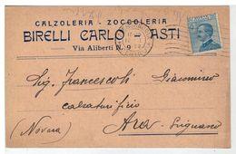 Cartolina Commerciale Asti - Calzoleria Zoccoleria Birelli Carlo - Asti