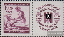 Bohemia And Moravia WZd13 With Zierfeld Unmounted Mint / Never Hinged 1941 Red Cross - Bohemia & Moravia