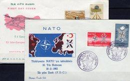 Jubiläum NATO 1962 Türkei 1830/1,2058/9+FDC O 6€ Halbmond Stern Europa-street CEPT Sympathie-Set First Cover Turkey - 1921-... Republic