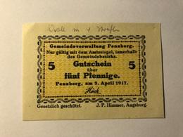Allemagne Notgeld Pensberg 5 Pfennig - [ 3] 1918-1933 : Weimar Republic
