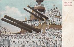 Vintage Postcard Written In 1908 - Sailors - US Navy BB-17 - War Battleship Rhode Island - 2 Scans - Warships