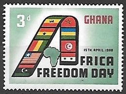 1960 Africa Freedom Day, 3d, Mint Hinged - Ghana (1957-...)
