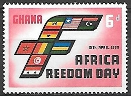 1960 Africa Freedom Day, 6d, Mint Hinged - Ghana (1957-...)
