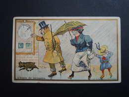 Chromo FARRADESCHE. Pub. Nouveautés  PARIS-VOLTAIRE. L' Ironie Du Baromètre.  Pluie. Parapluie. - Unclassified