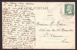 N° 171a Bel Anneau LUNE Au Dessus De La Tête  De Plus Sur Document Poste De Paray Le Monial : Variété RARE SUR DOCUMENT - Kuriositäten: 1921-30 Briefe & Dokumente