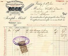 Facture 1903 Vinay (Isere) Joesph Merit Spécialité De Vins De Pays - Food