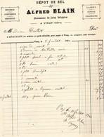 Facture 1914 Vinay (isere) Alfred Blain Dépot De Sel - 1900 – 1949