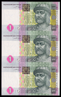 UKRAINE 1 HRYVNIA 2004 UNCUT SHEET / BLOCK OF 3 Pick 116a Unc - Oekraïne