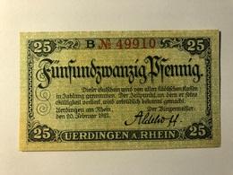 Allemagne Notgeld Uerdingen 25 Pfennig - [ 3] 1918-1933 : Weimar Republic