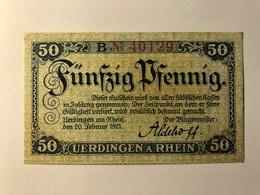 Allemagne Notgeld Uerdingen 50 Pfennig - [ 3] 1918-1933 : Weimar Republic