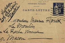 Carte 365 CL 1, Date 749, 111 X 70mm, De Paris Pour La Roche Vineuse - Postal Stamped Stationery