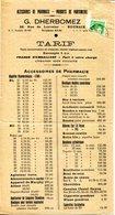 59.NORD.ROUBAIX.ACCESSOIRES DE PHARMACIE.PRODUITS DE PARFUMERIE.G.DHERBOMEZ 56 RUE DE LORRAINE.TARIF. - Chemist's (drugstore) & Perfumery