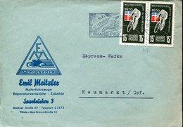 40021 Saar  Circuled Cover 1955 With 2x Stamp Cycling World Champ Im Querfeldein, - Radsport