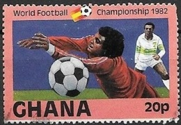 1982 World Football, 20p, Used - Ghana (1957-...)