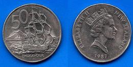 Nouvelle Zelande 50 Cents 1987 Bateau Boat New Zealand Que Prix + Port - Nouvelle-Zélande