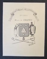 Bel Ex Libris Ancien Vers 1900 René De Saizieu - Armoiries - Colonial Femme Nue Colonies Légion D'Honneur - TBE - Ex-libris
