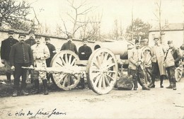 CARTE PHOTO : BEAUREPAIRE ? CLOS DU PERE JEAN 83e REGIMENT D'ARTILLERIE 1er BATTERIE CANON GUERRE - Materiale