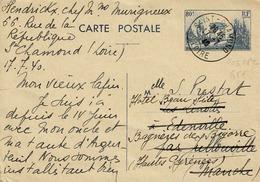 Carte 403 CP 2 De St Chamond Pour Edenville Puis Bannières De Bigorre - Postal Stamped Stationery