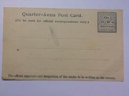 INDIA - OHMS Quarter-Anna Post Card Unused - Otros