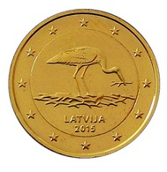 LETTONIE 2015  - 2 EUROS COMMEMORATIVE - CIGOGNE  - PLAQUE OR - Lettonie